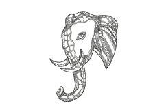 Bull  Elephant Head Doodle Art Product Image 1