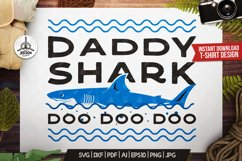 Retro Daddy Shark Print / Fathers Day T-Shirt, Family SVG Product Image 1