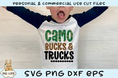 Camo Bucks & Trucks Kids Grunge Distress SVG Product Image 1