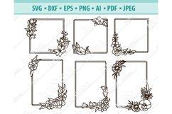 Flower Frame SVG, Floral square frames Svg, Png, Dxf, Eps Product Image 1