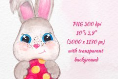 Watercolor Easter bunny clipart Cute little Bunny with egg Product Image 2