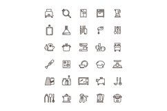 Cuisine, kitchen tools and appliances line vector icons. Res Product Image 1