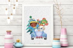 Christmas Cars Boys. Watercolor holiday clipart, vintage Product Image 4