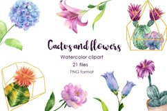 Watercolor Cactus and Flowers Clipart. Product Image 1