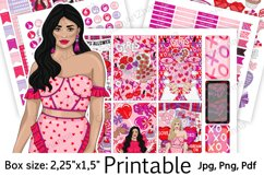 """Galentine's Day Printable Sticker Box Size 2,25""""x1,5"""" Product Image 1"""