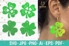 St.Patricks Day Clover Earrings SVG, Shamrock Earrings svg Product Image 1
