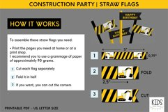 Construction party decorations, kids party straw flags Product Image 3