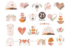 Boho Love Clipart, Valentine's Heart Clipart, elements Product Image 1