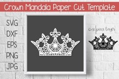 Crown Mandala Paper Cut Template Design SVG Product Image 1