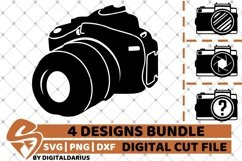 4x Camera Designs Bundle svg, Camping svg, Photography svg Product Image 1