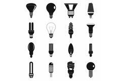 Light bulb icons set, simple style Product Image 1
