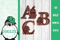 Gnome letters 3D multi layer mandala layered alphabet bundle Product Image 1