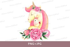 Watercolor Unicorn Head with Flowers PNG Sublimation Clipart Product Image 1