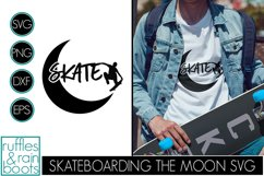 Skateboarding SVG with Jump Off the Crescent Moon Silhouette Product Image 1