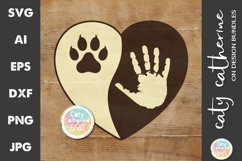 Love Heart with Hand and Pet Cat Paw Print SVG Cut File Product Image 1
