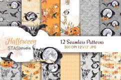 Halloween Watercolor Handpainted Paper, Seamless Patterns Product Image 1