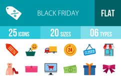 25 Black Friday Flat Multicolor Icons Product Image 1