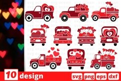 Valentines Day Truck SVG Bundle | Valentines Day Cricut Product Image 1