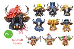 Cute watercolor bulls Product Image 1