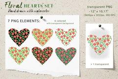 Floral Hearts Set. Valentine Sublimation PNG design Product Image 2