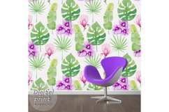 Watercolor Seamless Pattern Tropical leaves Orchidea Magnoli Product Image 5