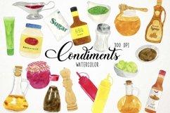 Watercolor Condiments Clipart, Condiments Clip Art, Sauces Product Image 1