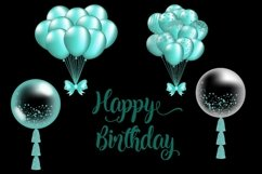 Turquoise Balloon Clipart Product Image 2