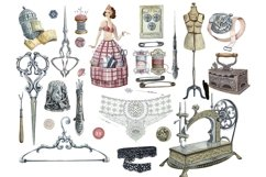 Sewing kit, Watercolor clipart Product Image 6