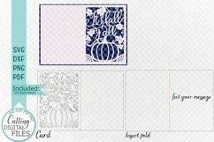 Fall Thanksgiving card papercut svg laser cut cricut file Product Image 3