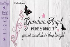 Guardian angel svg, Angel quote, Nursery wall svg, Product Image 1