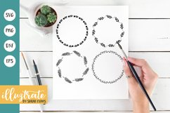Hand Drawn Wreath SVG Cut File | Leafy Wreath Cutting File Product Image 1