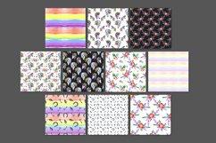 Rainbow unicorns digital paper pack Product Image 3