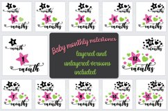 Baby milestone svg bundle, star balloons, 1 - 12 months Product Image 1