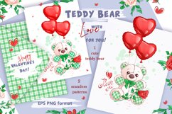 White Teddy Bear for Valentine's Day. Clipart and patterns. Product Image 1