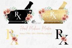 Floral medicine mortar and pestle decor design. Med gift png Product Image 1