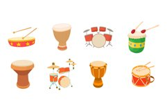 Drums icon set, cartoon style Product Image 1