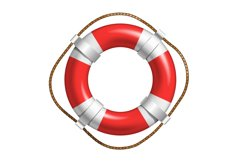 Red And White Lifebuoy For Help Life In Sea Vector Product Image 1