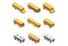 School bus back kids icons set, isometric style Product Image 1
