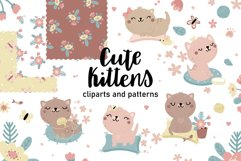 Cute kitten clipart and patterns Product Image 1