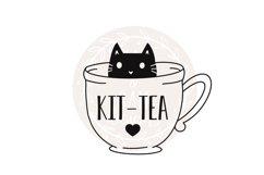 Cat svg, Tea svg, Kit-tea svg, teacup svg Product Image 1