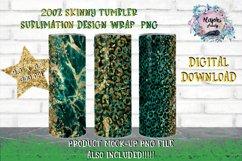 Emerald Leopard 20oz Sublimation skinny tumbler wrap Design Product Image 1