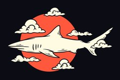 Shark with clouds illustration t shirt design Product Image 1