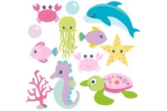 Girls Sea Animal Clipart and Digital Papers Set Product Image 3