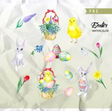 Easter Watercolor Egg Clipart, Spring Clip Art Product Image 2