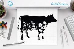 Floral Cow SVG, Flower Cow SVG Cut File, Floral Cow Clipart. Product Image 1