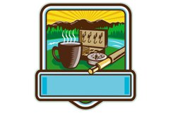 Mug Fly Tackle Bait Box Rod Reel Crest Woodcut Product Image 1
