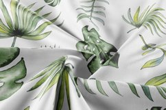 Watercolor tropical leaves & flowers seamless pattern. Product Image 3