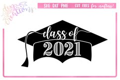 Class of 2021 Grad Cap - SVG DXF PNG Digital files Product Image 1