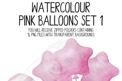 Pink Watercolor Balloon Clipart Set Product Image 4
