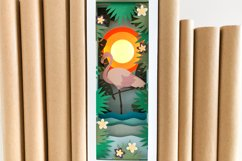 Flamingo Shadow Box SVG Layered Book Nook Paper Cut Template Product Image 4